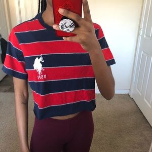 Cropped red and dark blue striped shirt